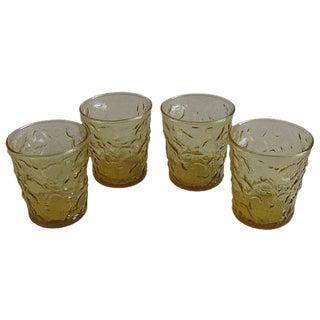 Mid-Century Amber Bar Glasses, Set of 4
