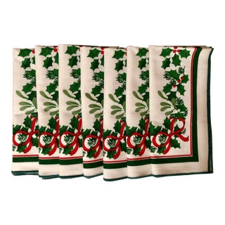 Vintage Holly & Bow Motif Christmas Napkins - Set of 7