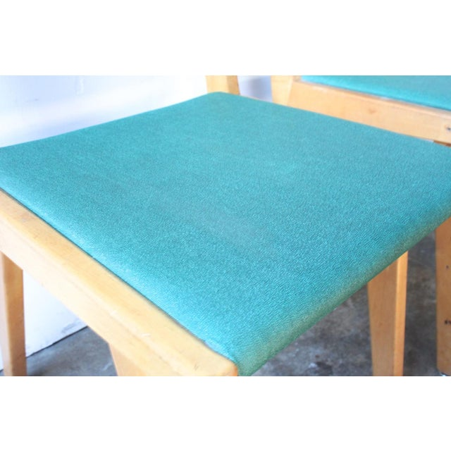 Image of Maple & Turquoise Vinyl Side Chair