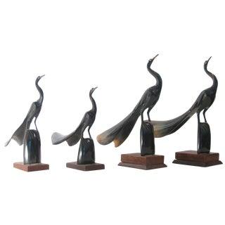 Artisan-Carved Natural Horn Scuptures, Set of 4
