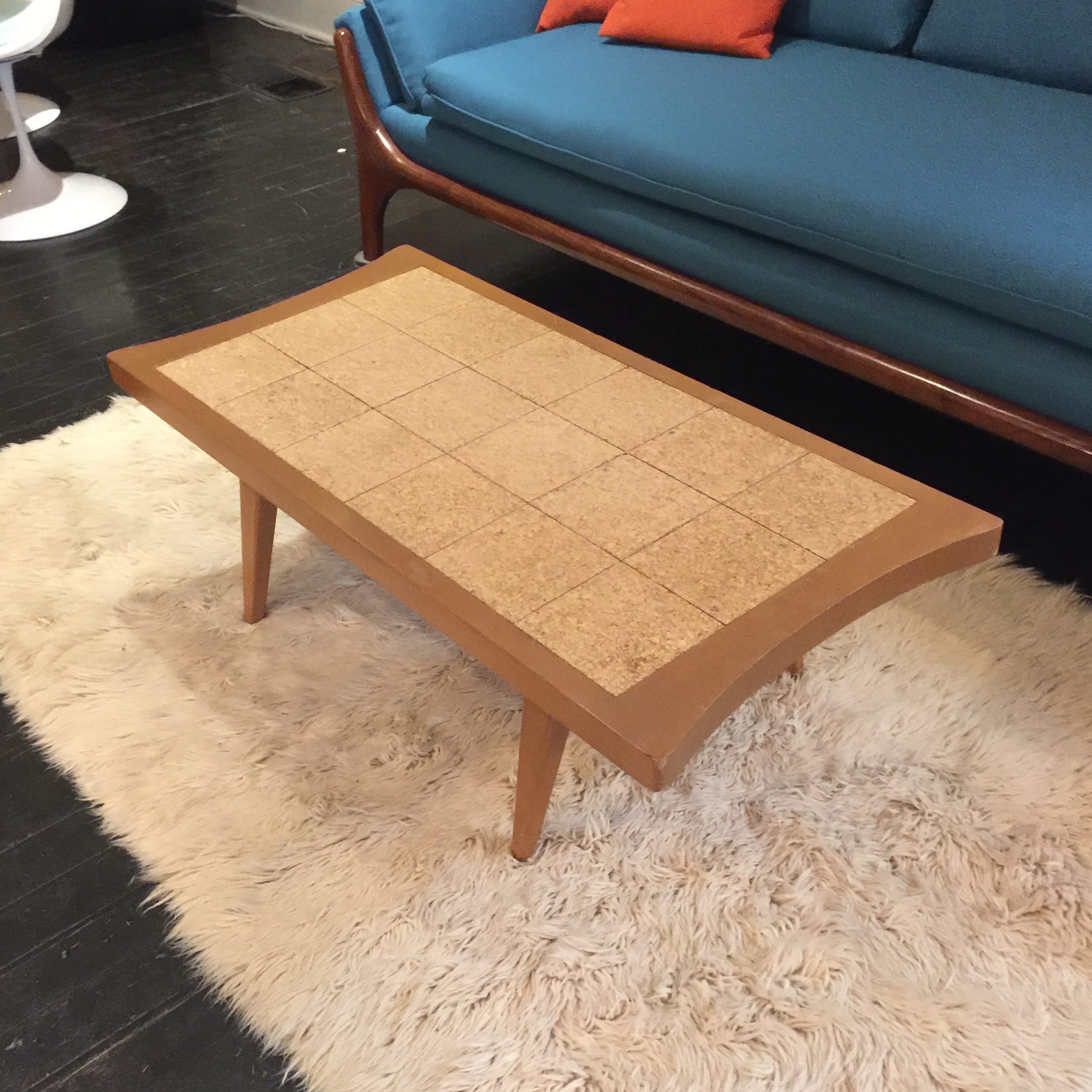 mid-century modern cork tile coffee table | chairish