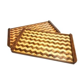 Vintage Mid Century Handmade Geometric Wood Trays - a Pair