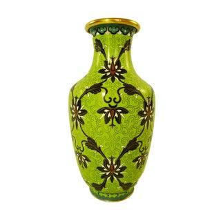 Rare Vintage Chartreuse Cloisonné Vase