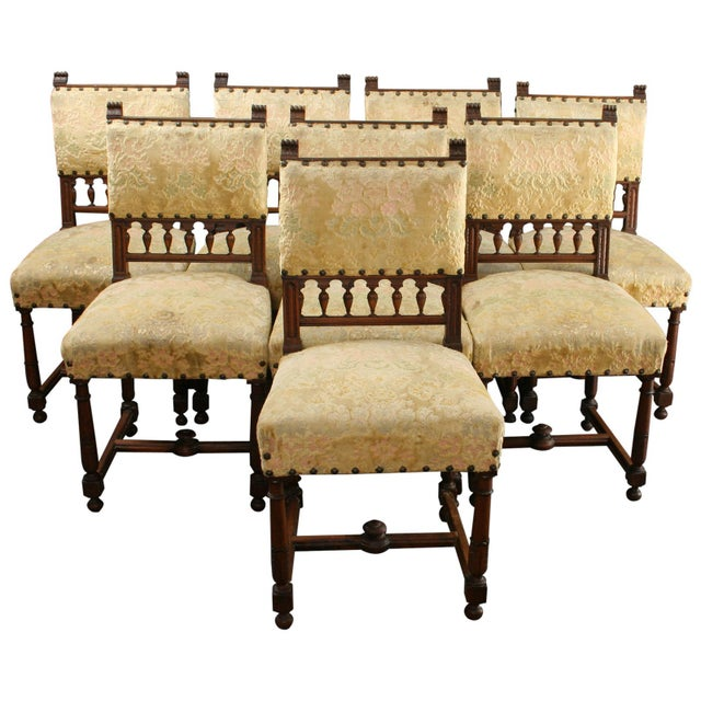 Image of Antique 1900 French Dining Chairs - Set of 8