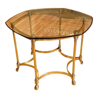Vintage Solid Brass Glass Top Side Table