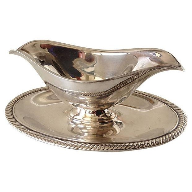 Image of Silverplate Gravy Boat With Attached Underplate