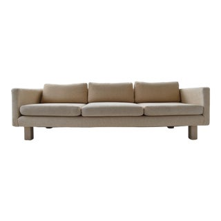 Mid-Century Fully Upholstered Woven Ivory Sofa