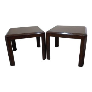 Maitland Smith Leather Wrapped Side Tables - A Pair