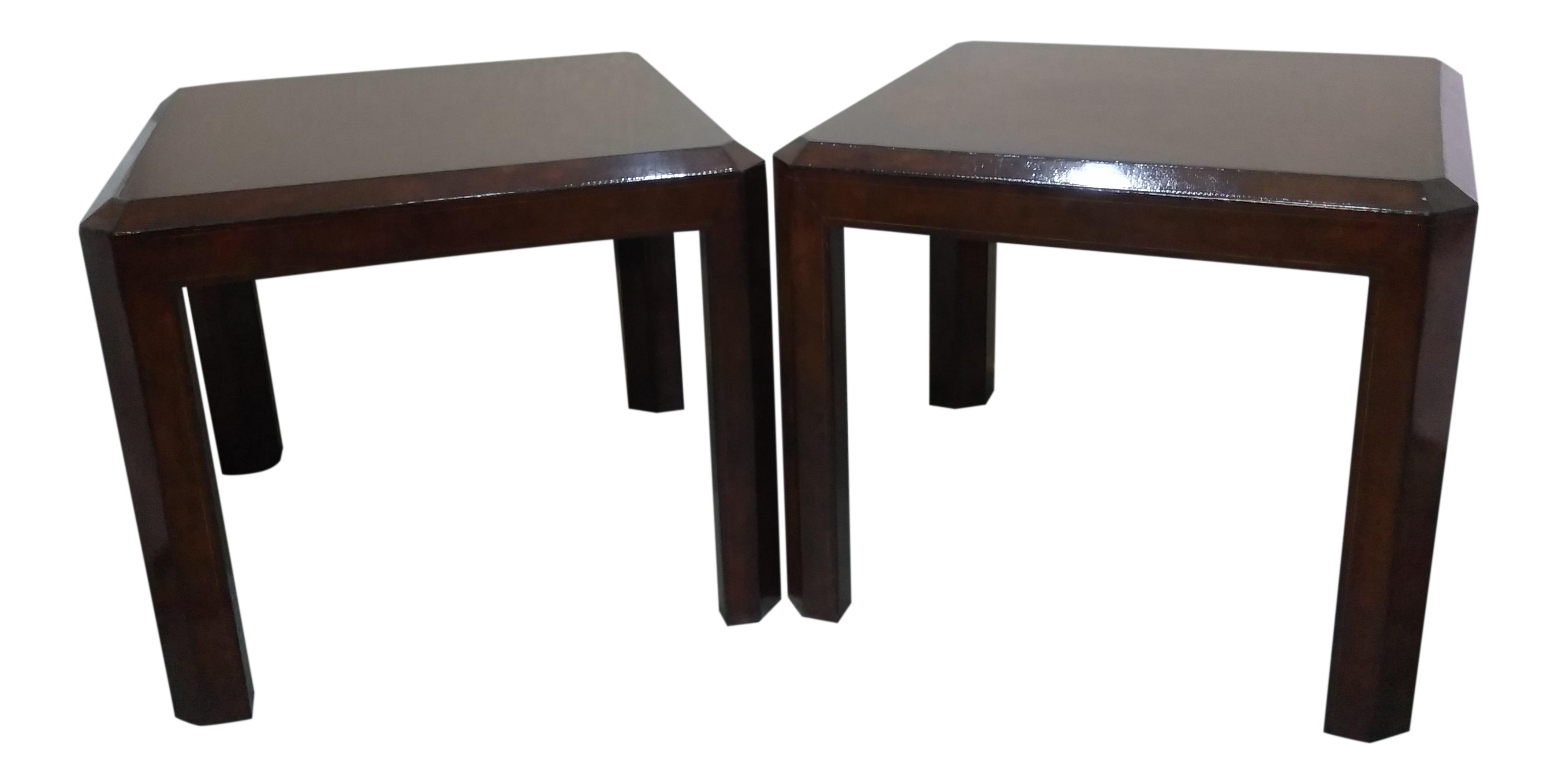 Maitland Smith Leather Wrapped Side Tables   A Pair