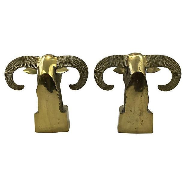 Image of Brass Ram's Head Bookends - A Pair