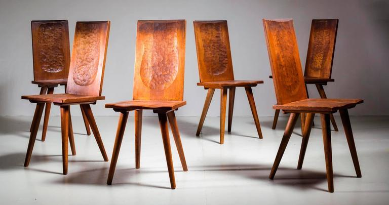 Jean Touret Set Of Six Oak Dining Chairs For Marolles, France, 1950s   Image