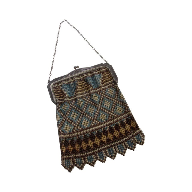 Image of 1920's Whiting & Davis Co. Enamel Mesh Bag Purse