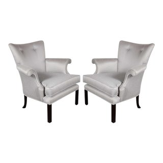 Glamourous Pair of Hollywood Scrolled Arm Chairs with Button Back Detailing