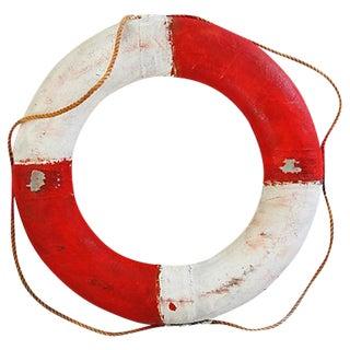 Vintage 1950s Nautical Red & White Life Preserver