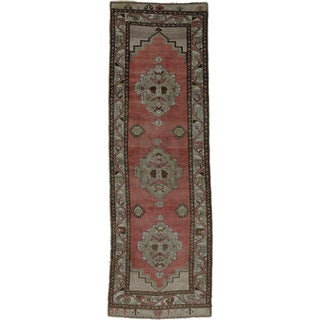 "Vintage Turkish Tribal Oushak Hand Knotted Rug- 2'9"" x 8'7"""