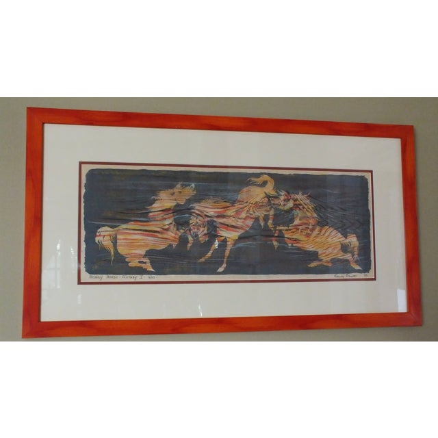 Nancy Nemec Mid-Century Etching of Horses - Image 3 of 10
