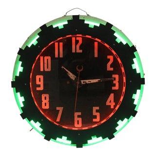 Art Deco American Aztec Neon Clock