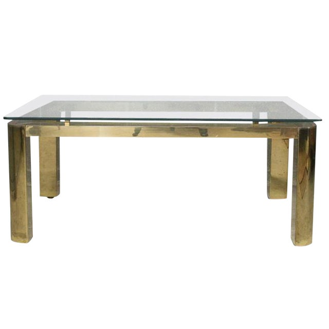 Image of Pace Mid-Century Modern Brass and Floating Glass Cocktail Table