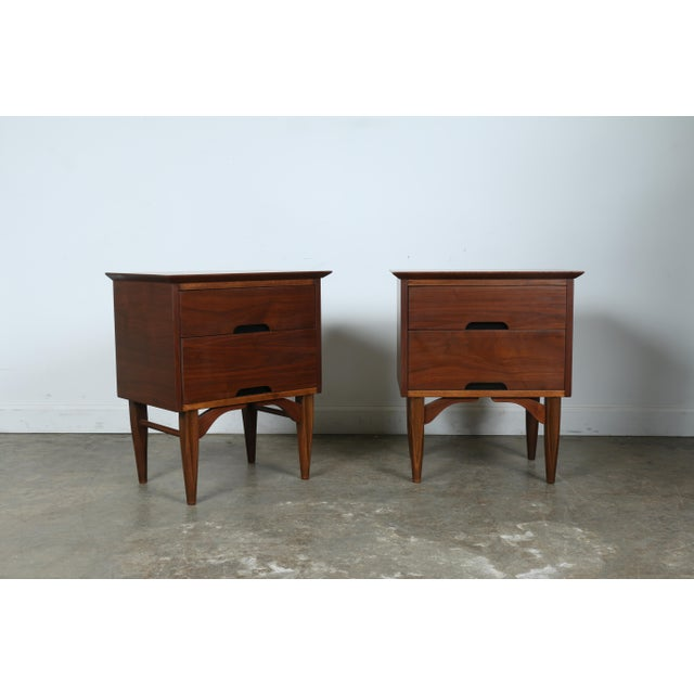 Mid-Century Walnut Nightstands - A Pair - Image 3 of 11
