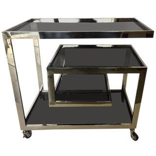 Mid-Century Modern Chrome and Tinted Glass Bar Cart