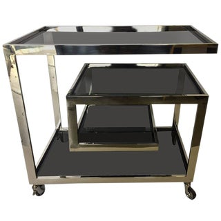 Mid-Century Modern Chrome and Tinted Glass Bar Cart