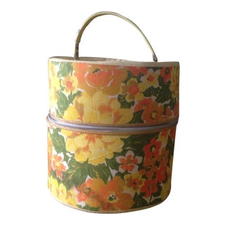 1960's Round Floral Suitcase