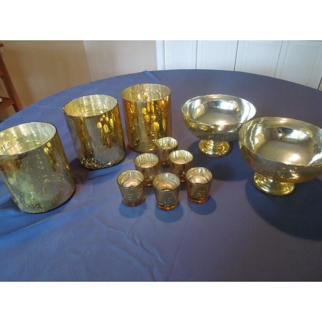 Gold Mercury Glass Vases & Votives - Image 3 of 5