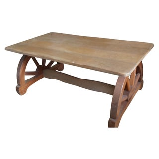 Vintage Western Style Wagon Wheel Coffee Tables