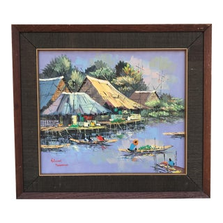 Kitilerk Muhummad Life on the Canals in Thailand Painting