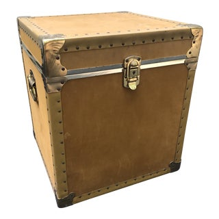 Vintage Suede & Brass Trunk