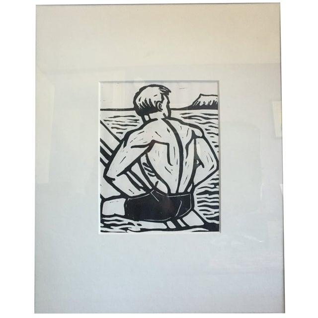 "Image of Justin Hawkins ""The Wait"" Lino Block Print"