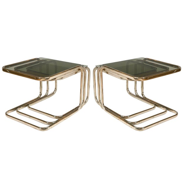 Image of White Gold Finish & Glass Nesting Tables - A Pair