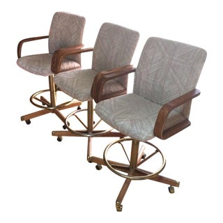 Casual Oak Upholstered Arm Game Chairs - Set of 3
