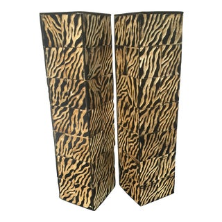 Carved Horn African Vases - A Pair