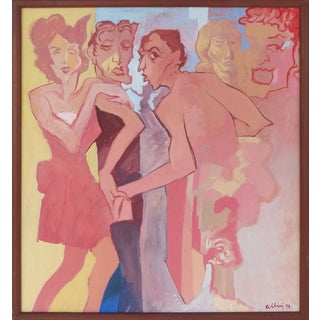 Contemporary Painting of Stylized Figures, 1972