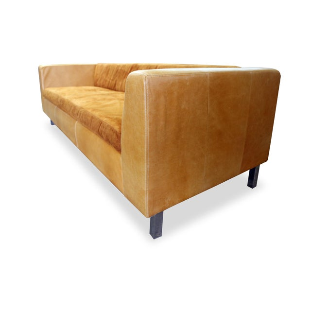 Modern Brazilian Brown Suede Sofa - Image 3 of 5