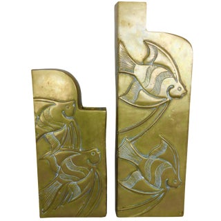 Vintage Brass Tropical Fish Vases - A Pair