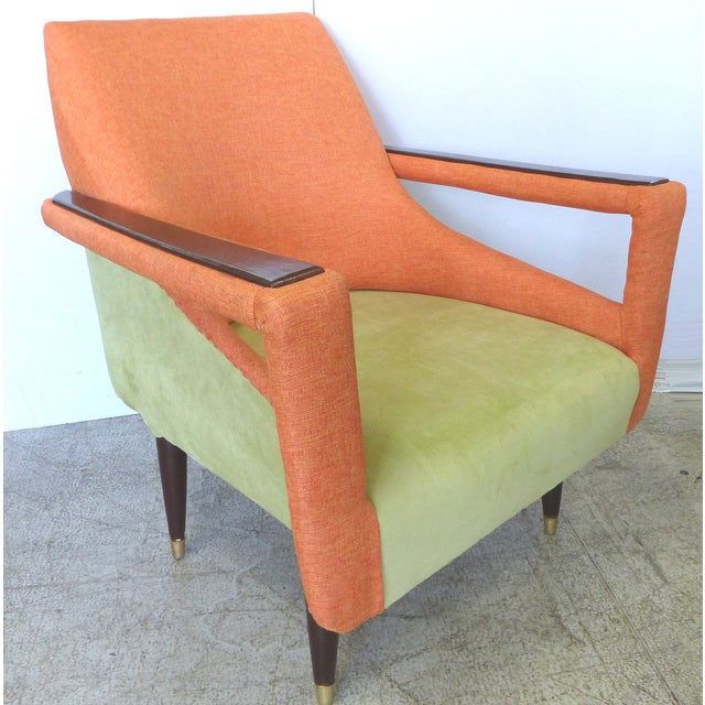 Angled Mid-Century Modern Club Chairs - Pair - Image 3 of 9