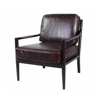 Spectra Home Mid-Century Modern Leather Accent Chair