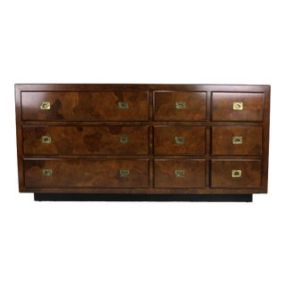 Oyster Burl Dresser with Campaign Style Brass Hardware