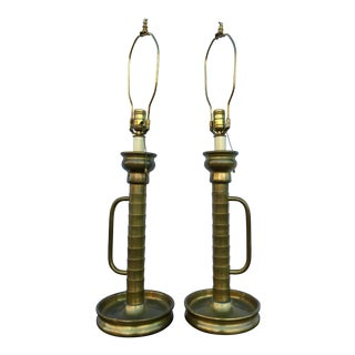 Antique Brass Lamps - A Pair