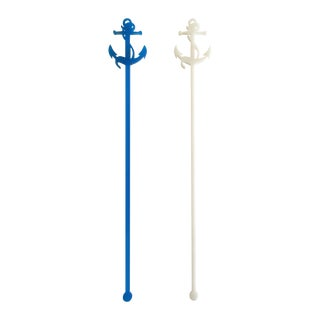 Turquoise Glitter Anchor Drink Stirrers - Set of 6