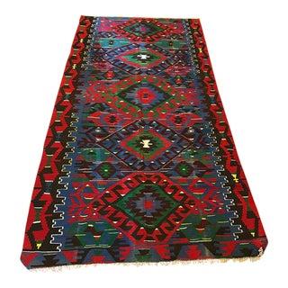 "Vintage Anatolian Esme Kilim Rug - 5'1"" X 10'9"""