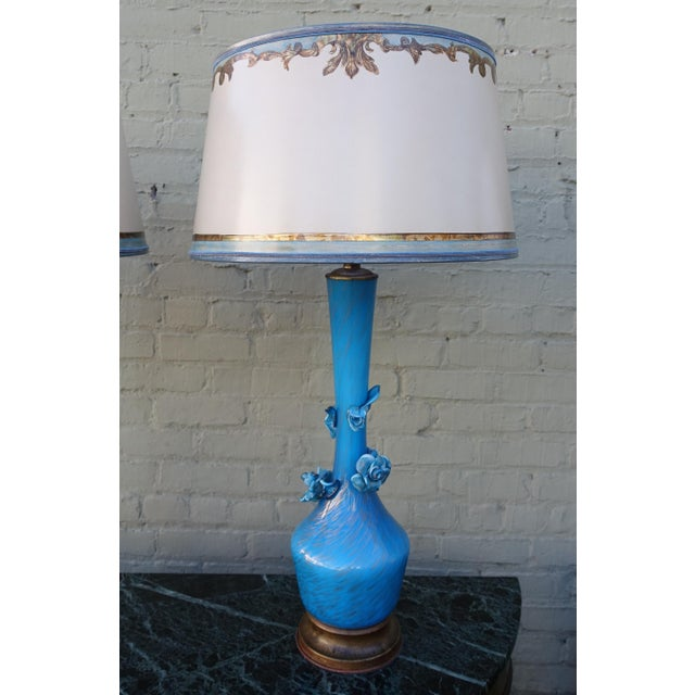 Turquoise Murano Glass Lamps - A Pair - Image 3 of 9