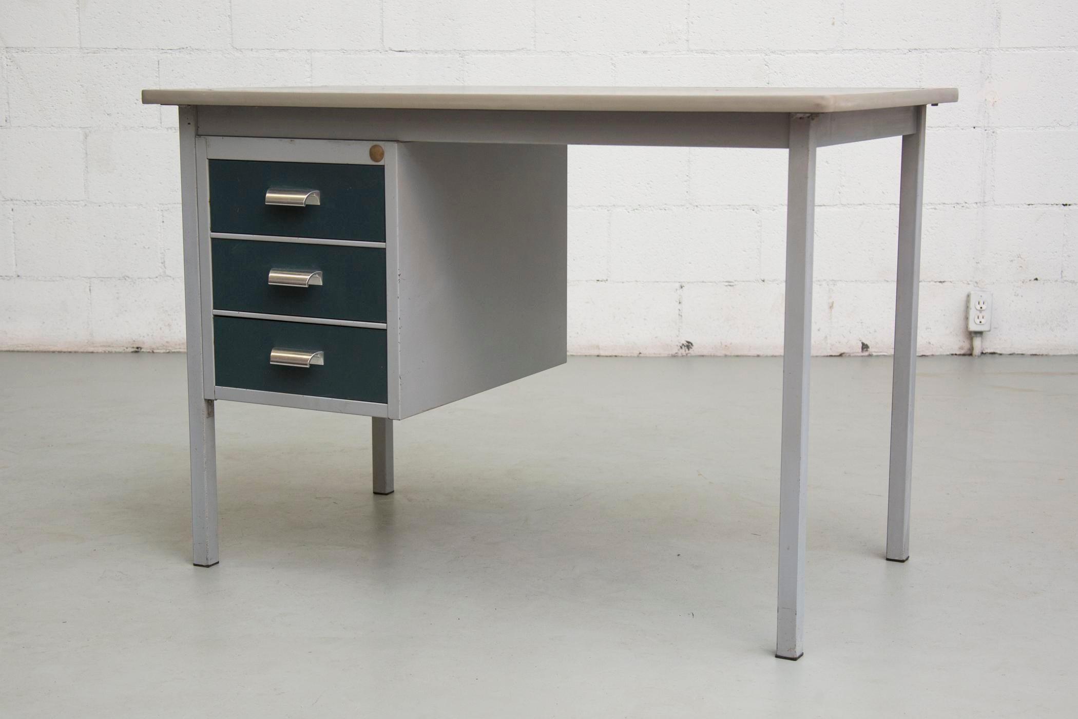 Small Industrial Blue Metal Desk