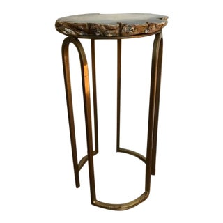 Solid Brass & Agate Side Table