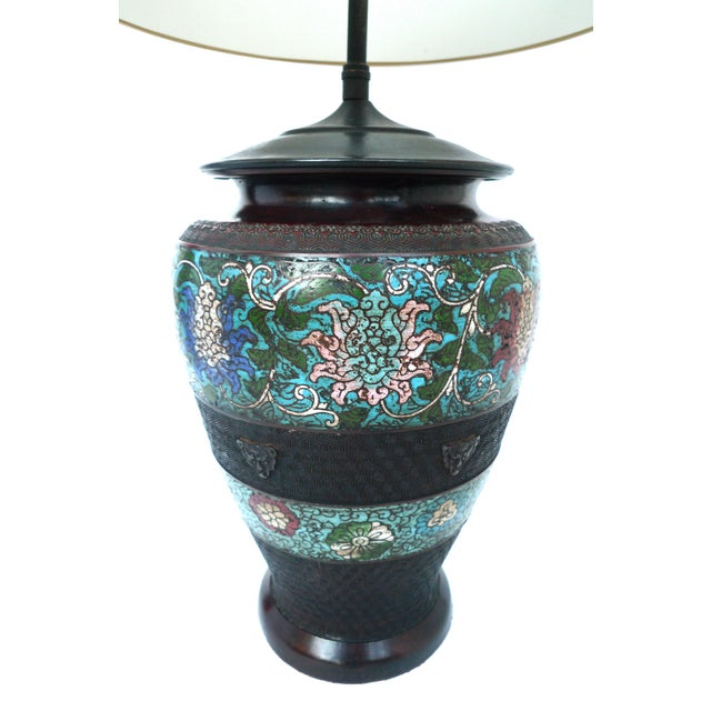 Japanese Champlevé Bronze Table Lamp - Image 2 of 6