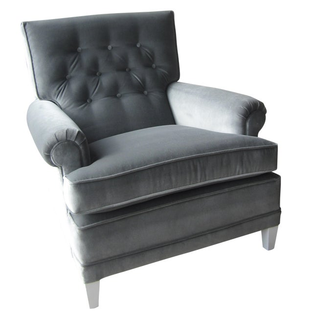 Large Grey Velvet Lounge Chair - Image 1 of 4