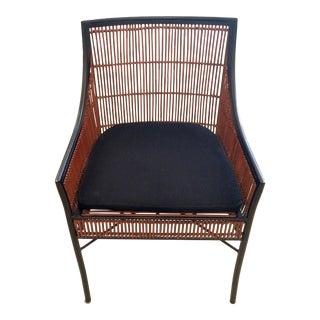 Crate & Barrel Rattan & Metal Arm Chair