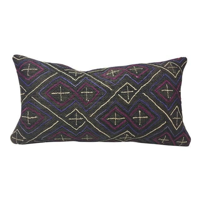 African Kuba Cloth Lumbar Pillow - Image 1 of 8